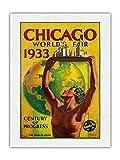 Feria Mundial de Chicago 1933 Siglo de Progreso Ferrocarril de Santa Fe - Póster Viaje Ferrocarril de Hernando Villa c.1933 - Impresión de Arte Papel Premium de Arroz Unryu 46x61cm