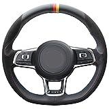 Loncky Black Suede Black Leather Auto Custom Steering Wheel Covers for 2015 2016 2017 2018 Volkswagen Jetta GLI VW / 2015 2016 2017 VW Golf R / 2015-2018 VW Golf 7 MK7 GTI Interior Accessories Parts
