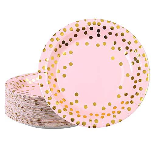 Elcoho 60 platos de papel desechables de 7 pulgadas, platos de color rosa con lunares dorados para fiestas, cumpleaños, bodas, aniversarios