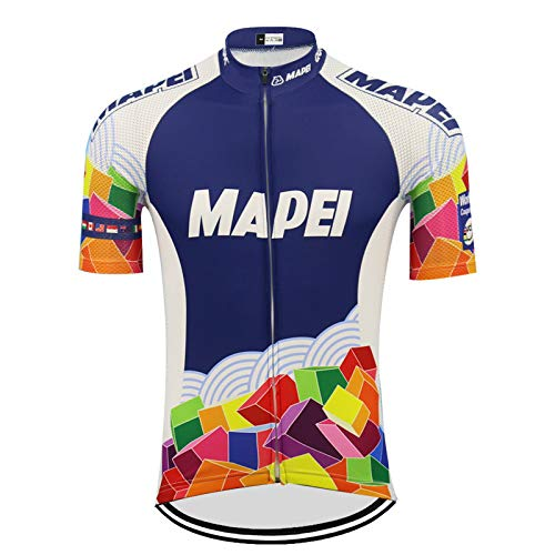 Retro MAPEI Cycling Jersey Ropa Ciclismo Men Short Sleeve Bike Wear Jersey Summer Cycling Go Pro Mountain Bicycle Clothes MTB The Rest of The Size to Take Contact Customer Service Custom (Men,XL)