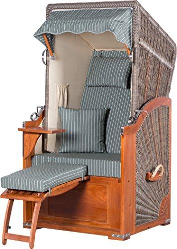 Möbelpromenade Strandkorb List Mahagoni Einsitzer PE grau Dessin Royal Grün