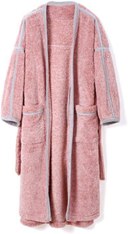 NAN Liang Winter Couple Cotton bathrobe, Pajamas Robe, Fashion Warm Men and Women Thick Couple bathrobe Soft (color   Bean Paste, Size   M)