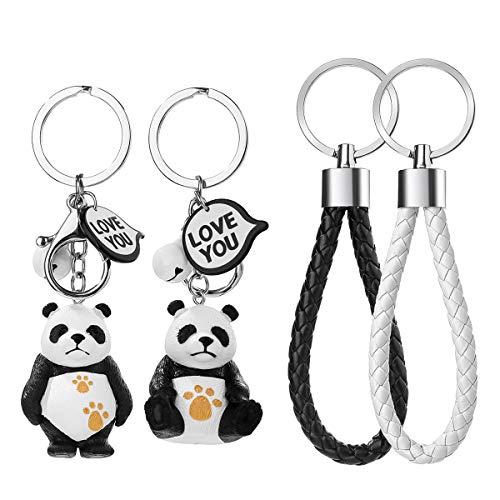 2 Stück Panda Paar Schlüsselanhänger Schlüsselbund , Schlüsselanhänger Panda Schlüsselschloss Schlüsselanhänger Kunstleder Geflochten Schlüsselband mit Schlüsselring Geschenk für Paar Liebhaber