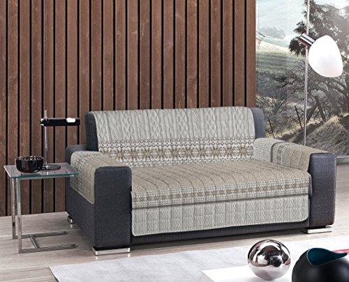 Homelife Funda de sofá de algodón impermeable fabricada en Italia | Funda para sofá de tela antideslizante | Funda protectora para perros y gatos | Estampado colorido efecto malla beige