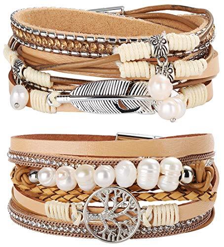Milacolato 2 Stücke Leder Wrap Manschette Armband Frauen Mädchen Multilayer Baum des Lebens Armband Armband Magnetschnalle Boho Armband Armreif Schmuck für Mutter Freunde