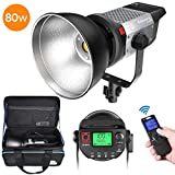 Pixel 80W Dimmable LED Video Light, 5600K Daylight Balanced Video Lamp, Continuous Output Light Offers High Brightness, Bowens Mount with Remote Control for YouTube Vlog Portrait Photography Lighting