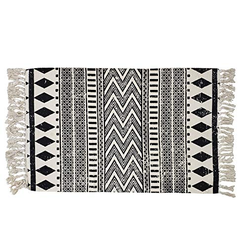 USTIDE Cotton Rug Black&Cream Boho Rag Rug Washable Farmhouse Bath Tassel Rug Doormat Hand Woven Fringe Rug Chindi Rug 2'×3'