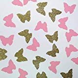 These cute cupcake toppers will add an addition to your baby shower birthday party theme party. Handcrafted and made of gold glitter card stock. Package include 50 pink butterfly cutouts and 50 gold ones. Handcrafted and no-assembled.