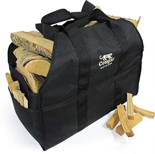 Cougar Outdoor - Die ultimative Holztragetasche – 2 Griffe, robust, stehend, wasserdicht, gefütterte Kaminholztasche – perfekt für den Transport von Holz, Camping und Lagerfeuer (schwarz)