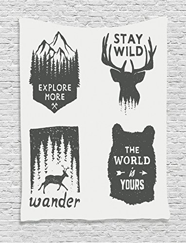 "Ambesonne Saying Tapestry, Wilderness Emblems Stay Wild Wander The World is Your Arrow Pine Wildlife Animals, Wall Hanging for Bedroom Living Room Dorm, 60"" X 80"", Grey"