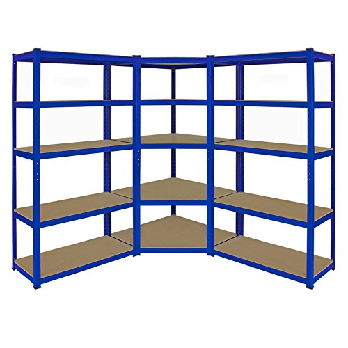 T-Rax Corner Racking Unit & Pack of 2 Garage Shelving Unit Extra Wide - 5 Tier Heavy Duty Rack for Storage Steel Utility Shelves | Metal & MDF Boltless Racking Assembly System | 180cm x 90cm x 45cm | Capacity 4125KG | 265KG Per Shelf, Blue + FREE Rubber Mallet