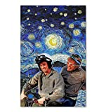 IceCream3DStore Dumb and Dumber Scooter Starry Night Style Van Gogh Vertical Poster | Funny Gift for Home Decor Wall Art Print Poster | Full Size 12x18 16x24 24x36 27x40 | Funny Poster