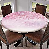 """Elastic Edged Polyester Fitted Table Cover,Sakura Branches with Blooming Florets Garden Nature Summer Inspiration Art Decorative,Fits up 45""""-56"""" Diameter Tables,The Ultimate Protection for Your Table,"""
