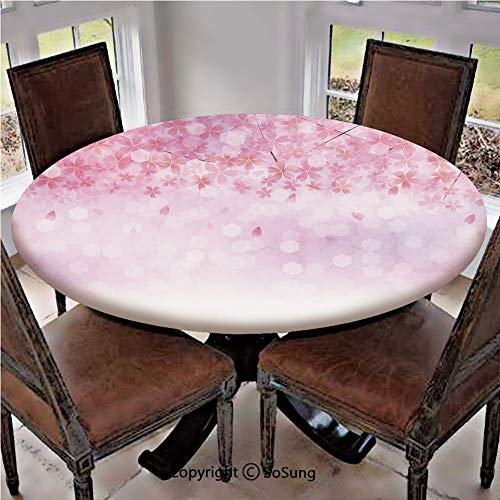 "Elastic Edged Polyester Fitted Table Cover,Sakura Branches with Blooming Florets Garden Nature Summer Inspiration Art Decorative,Fits up 45""-56"" Diameter Tables,The Ultimate Protection for Your Table,"