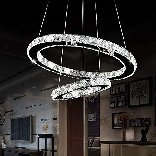 Luckywing Lampadario moderno di cristallo, da soffitto, lampadario moderno a LED, Bianco freddo (6000-6500 K) 2 rings, per Soggiorno, Ristorante, Camera da Letto