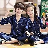 VAZON Kids Silk Satin Pajamas Set, Long Sleeve Sleepwear Nightwear for 10-16 Years Old Boys and Girls Navy Blue