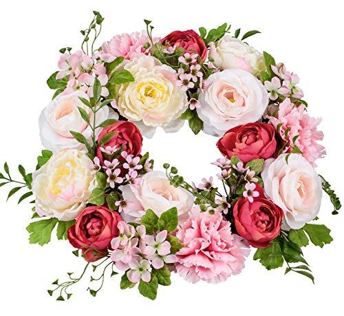 dekojohnson künstlicher Blumenkranz Frühjahrskranz Sommerkranz Wandkranz Türkranz Frühling rosa rot grün Pfingstrosen Nelken Ø 32cm