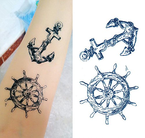 SanerLian Set of 5 Waterproof Temporary Tattoo Stickers Pirate Sailor Culture Anchor Design Body Art