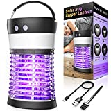 Solar Bug Zapper, Fly Gnat Mosquito Killer 3000V Solar & USB Powered Rechargeable Waterproof IP66 Mosquito Zapper for Indoor Outdoor Backyard, Patio, Home, Camping, Travel, Portable Insect Killer