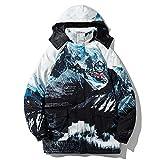Doudoune Homme Hiver Léger Manteau Bouffant Hip Hop 90% Duvet de Canard Blanc Surdimensionné à Capuche Parka Vintage Outwear Mâle,M(175-185cm)