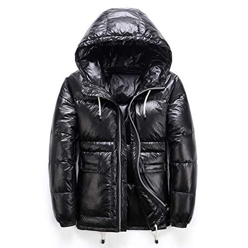 BBB&LIU Daunenjacke,Winter Herren Dicke warme Jacke, Streetwear Shiny Hooded White Duck Down Jacke Lose Übergröße Mantel, Schwarz, XXL