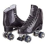 Skate Gear Sparkly Retro Quad Roller Skates (Glitter Black, Women's 10 / Men's 9)