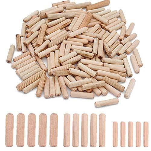 KAILEE 500pcs Espigas de Madera 6mm 8mm 10mm, Tacos de Madera Tubillones de Color Natural Ranurada Espigas Corrugadas de Madera de Haya para Muebles Carpinteros Carpintería DIY