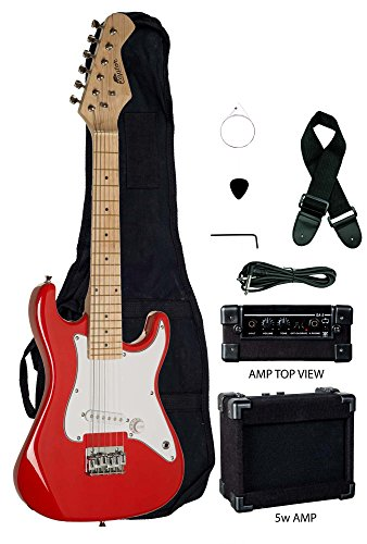 31' Kids Child Mini ST EP5 Starter Electric Guitar Package with 5 Watt Amp, Gig Bag, Strap, Cable and Picks by Raptor (Red)