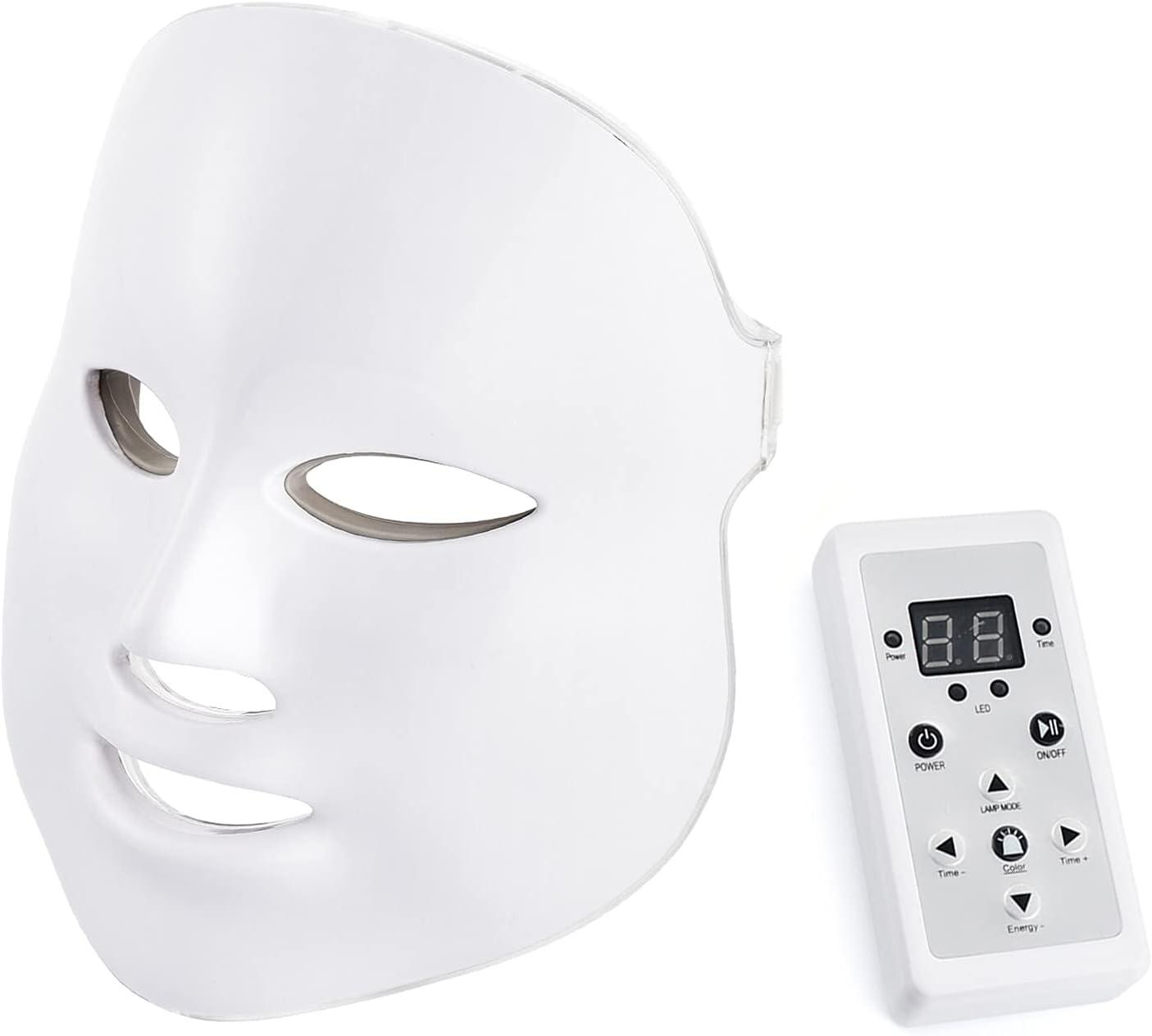 LED face mask 7 colores led cara light therapy máscara cuello led fotones máscara facial tratamiento facial de la piel anti envejecimiento belleza máscara de cuidado de la piel blanco
