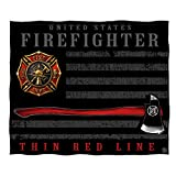 Erazor Bits First Responders Throw Blanket, United States Firefighter Blankets, Thin Red Line Fireman Cover, Cozy Fleece Bed Spread FF2443-TB (50 x 60 Inches)