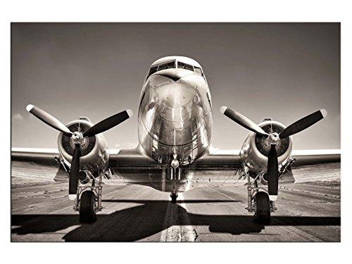 kunst-discounter Propeller Flugzeug Silber Leinwandbilder auf Keilrahmen A06076 Wandbild Poster 90 x 60 cm