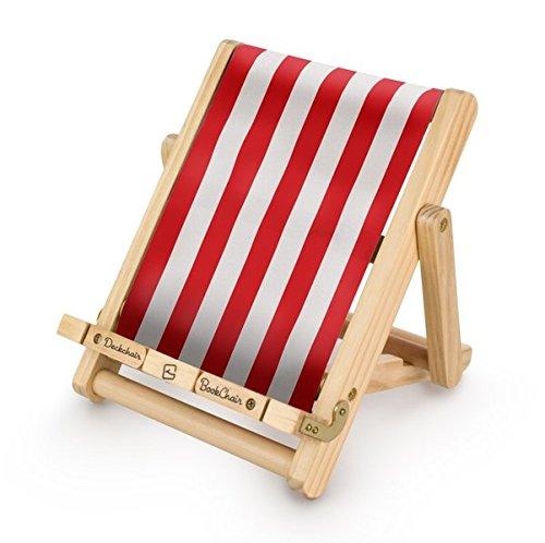 Bookchair Medium Rot-Weiß gestreift - Buchständer - Tablethalter aus Holz: Leseständer für Bücher, E-Reader und Tablets