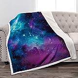 Jekeno Galaxy Space Sherpa Blanket Smooth Soft Print Throw Blanket for Gift Women Girls Best Friend 50'x60'