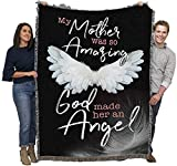 My Mother was So Amazing God Made Her an Angel - Sympathy - Cotton Woven Blanket Throw - Made in The USA (72x54)