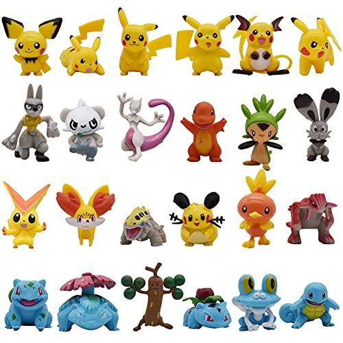 BESTZY Pikachu Cake Topper, Pikachu para Tartas,Happy Birthday Decoración de Tartas Animal Tema Partido Decoración Niña Chico Niño Mujer Hombre (24Pcs)