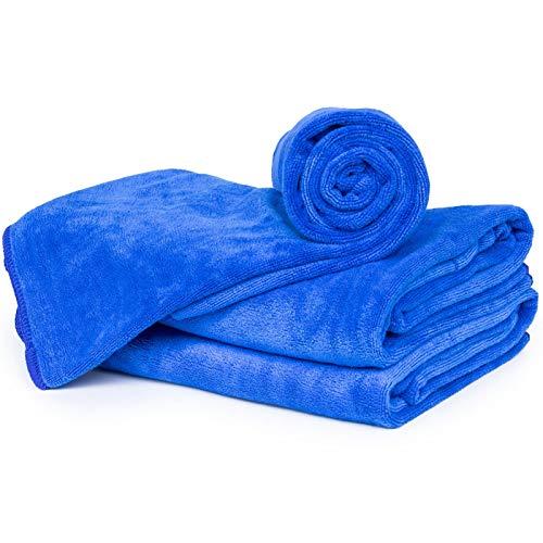 cosey - Paquete de 3, Toalla de Microfibra esponjosa tamaño L, 60x120cm, Azul Oscuro