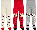 Disney Baby Girls' Leggings Tights – Soft Breathable Stockings Pantyhose (Newborn/Infant), Size 18-24 Months, Red/Grey/Cream