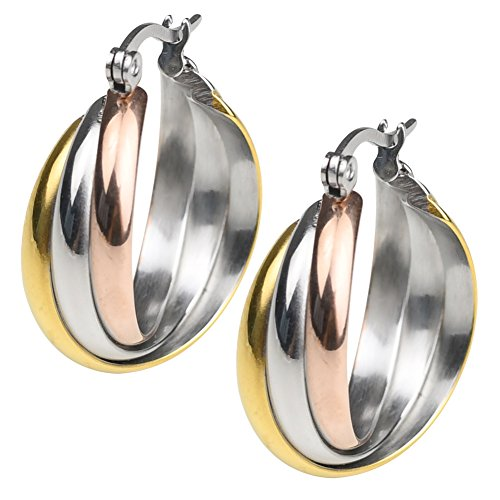 18k Yellow Gold Plated Stainless Steel Polished Shiny Tri Color Round Twist Hoop Earrings for Women (Tri color)