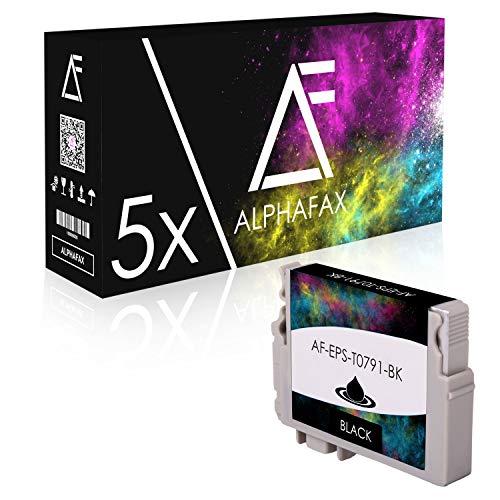 5 Tintenpatronen kompatibel für Epson Stylus Photo 1400 1500W P50 PX-650 660 700 710 W 720 730 WD 800 810 FW 820 830 FWD - C13T07914010 - Schwarz je 15ml