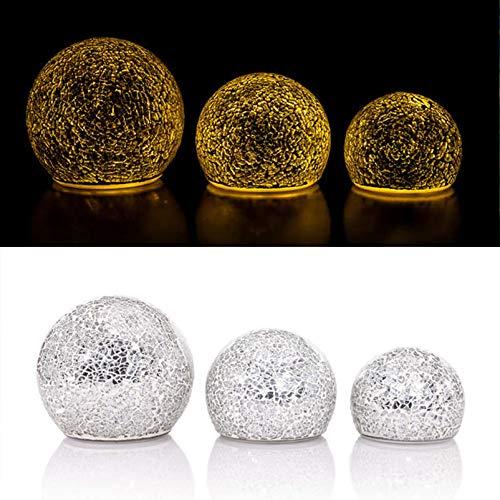 DbKW (Mosaik Silber) 3 beleuchtete LED Kugeln, 13, 11 & 9 cm, Fernbedienung Timer, inkl. Batterien, Glaskugeln Leuchtkugel