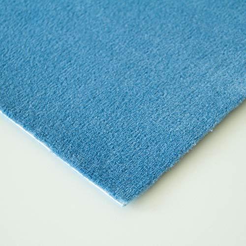 Steffensmeier Velours Teppichboden Verona Meterware | Auslegware für Kinderzimmer Wohnzimmer Schlafzimmer | Hellblau, Größe: 400x200 cm