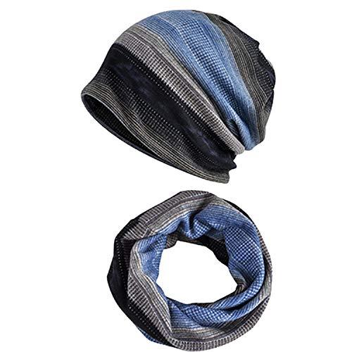 Snyemio Cappello Sciarpa Uomo, 2 Pezzi Inverno Caldo Maglia Cotone Beanie Berretto Sportivo con Sciarpa Set