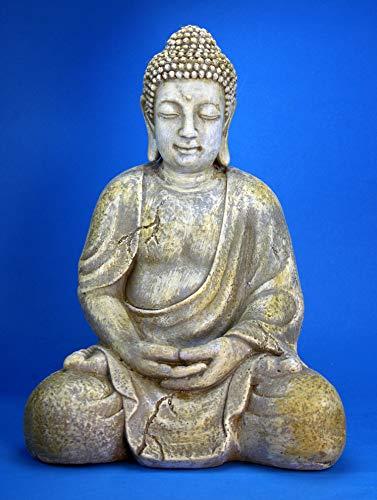 Geki Trend Buddha Garten Figur 42 cm groß frostsicher wetterfest grau Antik Stein-Optik
