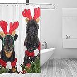 Cortina de la Ducha Shower Curtain Christmas Cute Dog Guest Kids Bathroom Decor with Hooks Summer Bath Water Proof Bathtub Window Accessories
