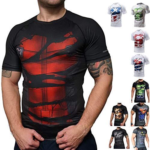 Khroom T-shirt de Compression de Super-héros pour Homme | Vêtement Sportif à Séchage Rapide pour Fitness, Gym, Course, Musculation | Matériel Extensible et Ventilé Anti Transpiration Deadpool noir XXL