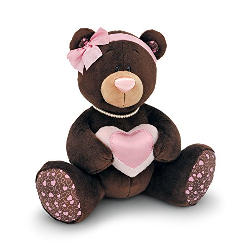 Orange Toys M003 Lait/20 – Ours avec cœur, Doudou pour Adultes et Enfants dans Emballage Cadeau, 20 cm, Marron/Rose