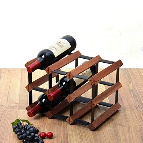 Porte-bouteilles robuste porte-bouteille style rétro décoration de table de stockage de bouteilles de vin for la boîte de stockage du vin sur les articles ménagers (peut contenir 9 bouteilles)