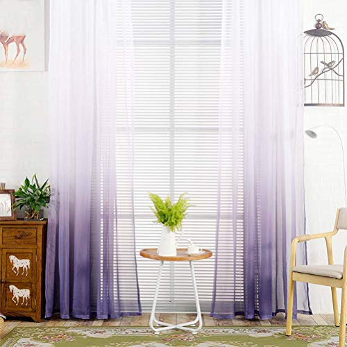 """YJBear Polyester Gradient Sheer Curtains for Living Room Rod Pocket Bedroom Voile Window Treatment Curtain Set,Purple,78.7"""" x 106""""(2 Panels)"""
