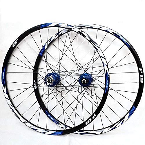 HJRD 26/27.5/29 in Set di Ruote Biciclette Fibra di Carbonio Ultraleggera Freno A Disco Cerchioni MTB A Doppia Parete, Rilascio Rapido Ruote per 32H 7-11 di velocità(26)
