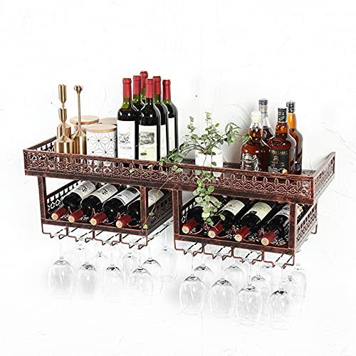 YXMxxm Estantes de Vino de Pared de 3 Niveles, Estante de Almacenamiento de exhibición de Pared de Copa Vintage de Bronce multifunción, para Bar, Restaurante, Ocio,120cm